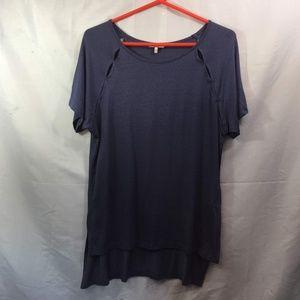 BKE Size L Blue Short Sleeve Top